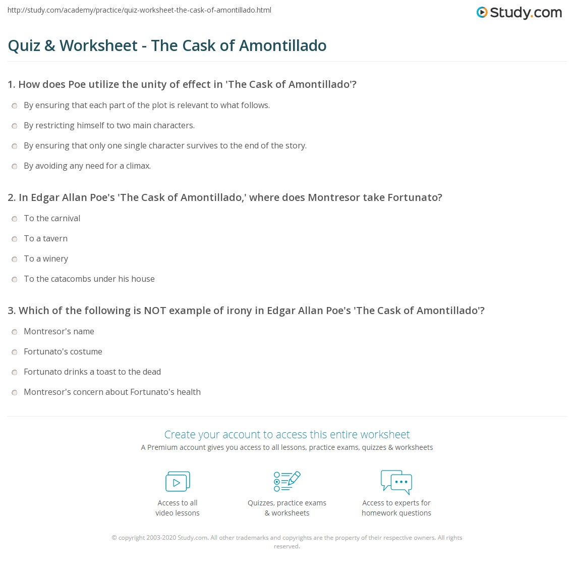 the cask of amontillado story diagram parts a flower simple quiz and worksheet study