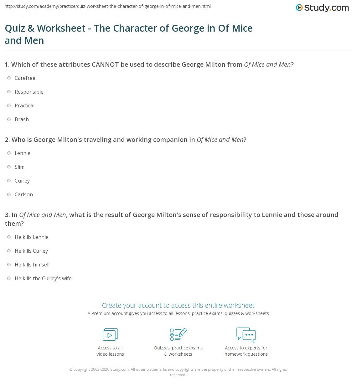 George Milton Description Characterization Of George