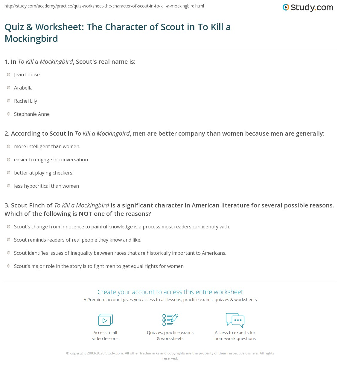 Quiz Amp Worksheet The Character Of Scout In To Kill A