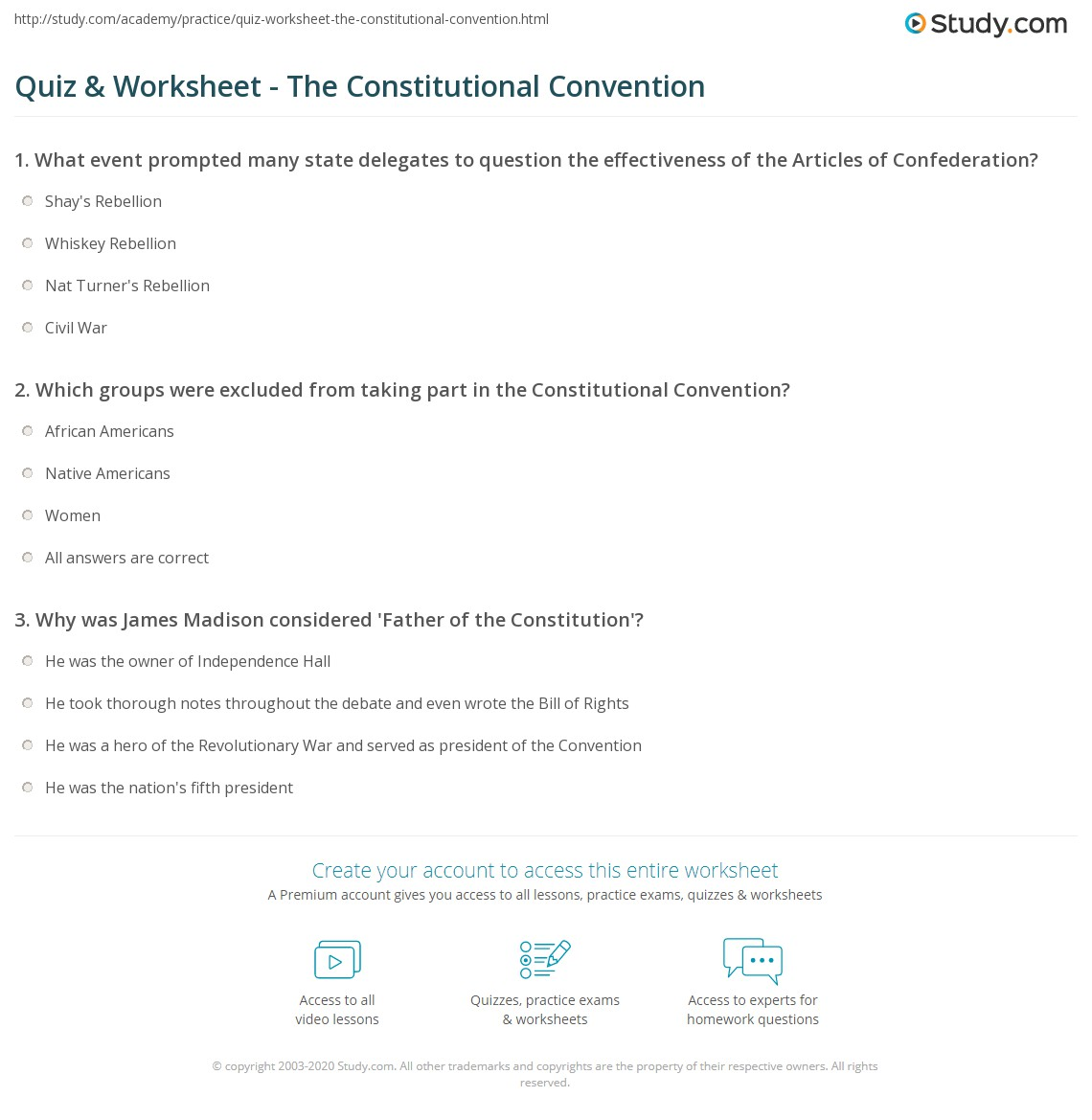hight resolution of The Constitutional Convention Worksheet - Worksheet List