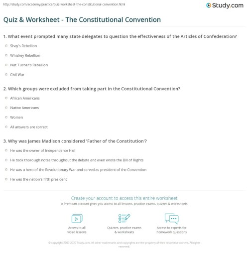 small resolution of The Constitutional Convention Worksheet - Worksheet List