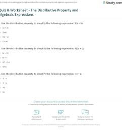 Quiz \u0026 Worksheet - The Distributive Property and Algebraic Expressions    Study.com [ 1160 x 1140 Pixel ]