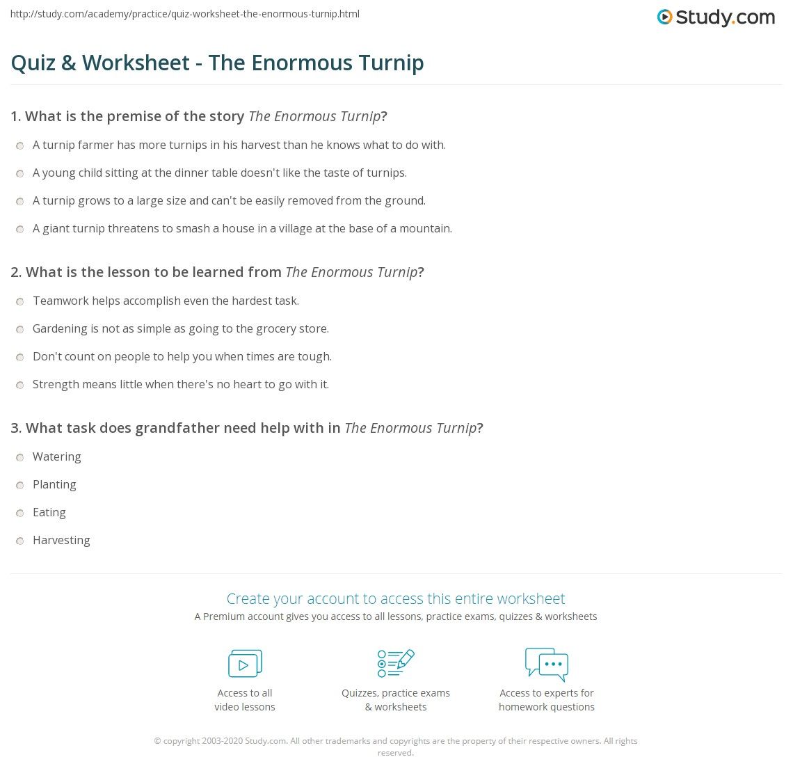 The Enormous Turnip Worksheets