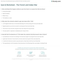 Quiz & Worksheet - The French and Indian War | Study.com