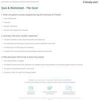 Quiz & Worksheet - The Giver | Study.com