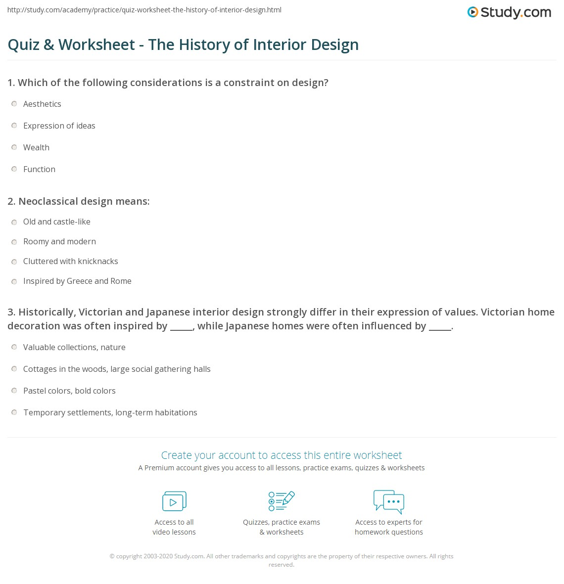 Quiz & Worksheet The History Of Interior Design Study Com