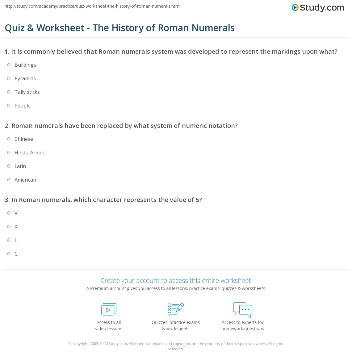 Writing Roman Numerals Worksheet