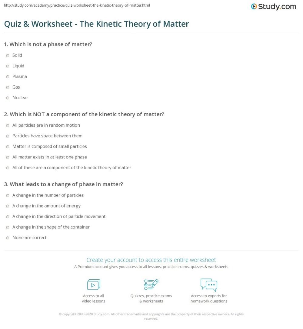 medium resolution of Quiz \u0026 Worksheet - The Kinetic Theory of Matter   Study.com