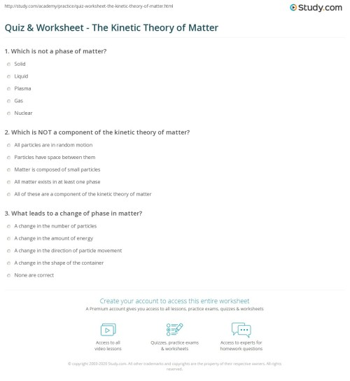 small resolution of Quiz \u0026 Worksheet - The Kinetic Theory of Matter   Study.com
