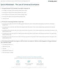 Quiz & Worksheet - The Law of Universal Gravitation ...