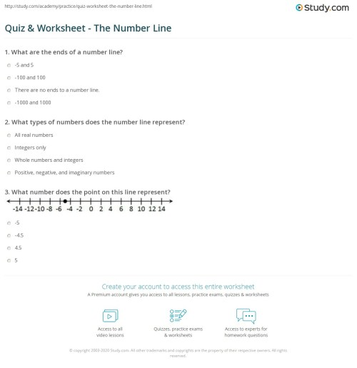 small resolution of Quiz \u0026 Worksheet - The Number Line   Study.com
