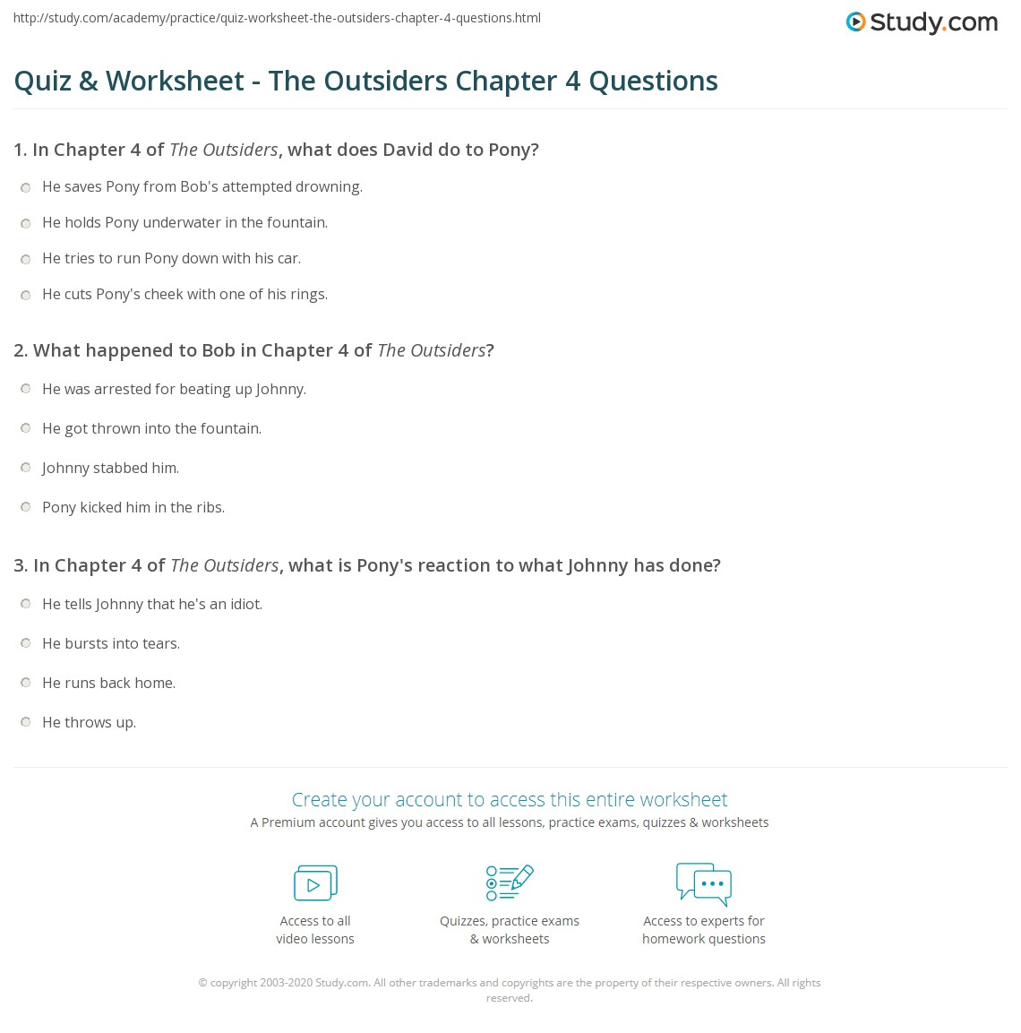 Outsiders Essay Questions Quiz Worksheet The Outsiders Chapter 4 Questions Study