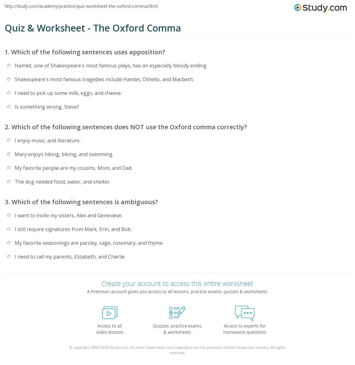 Worksheet Comma Worksheets High School Grass Fedjp