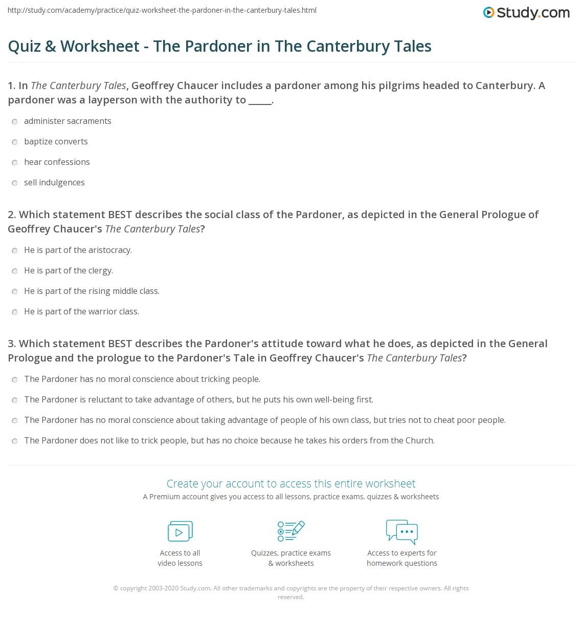 Pardoner S Tale Worksheet