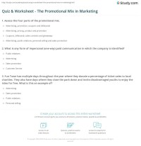 Quiz & Worksheet - The Promotional Mix in Marketing ...