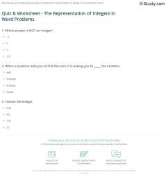 Quiz \u0026 Worksheet - The Representation of Integers in Word Problems    Study.com [ 1208 x 1140 Pixel ]
