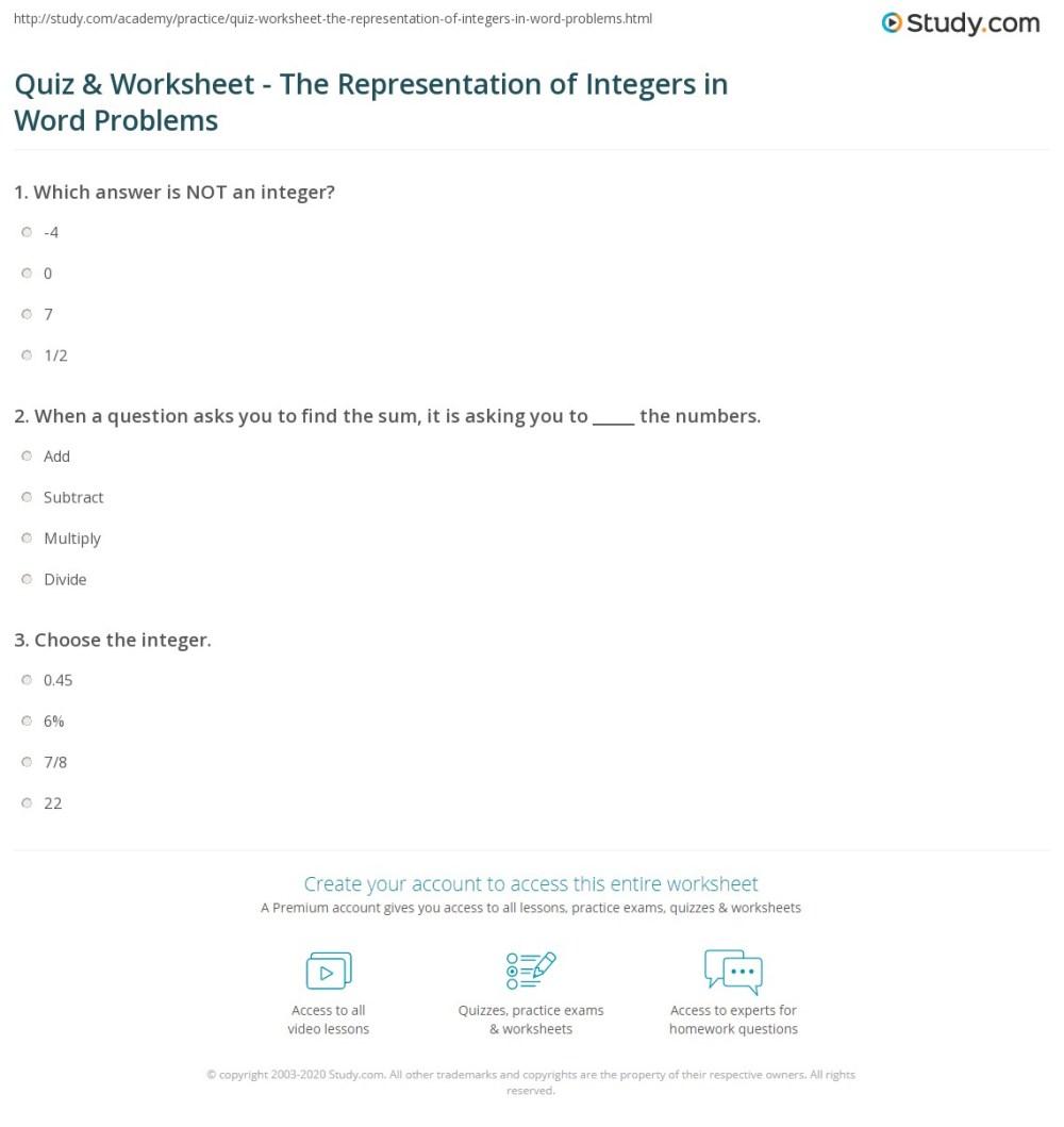 medium resolution of Quiz \u0026 Worksheet - The Representation of Integers in Word Problems    Study.com