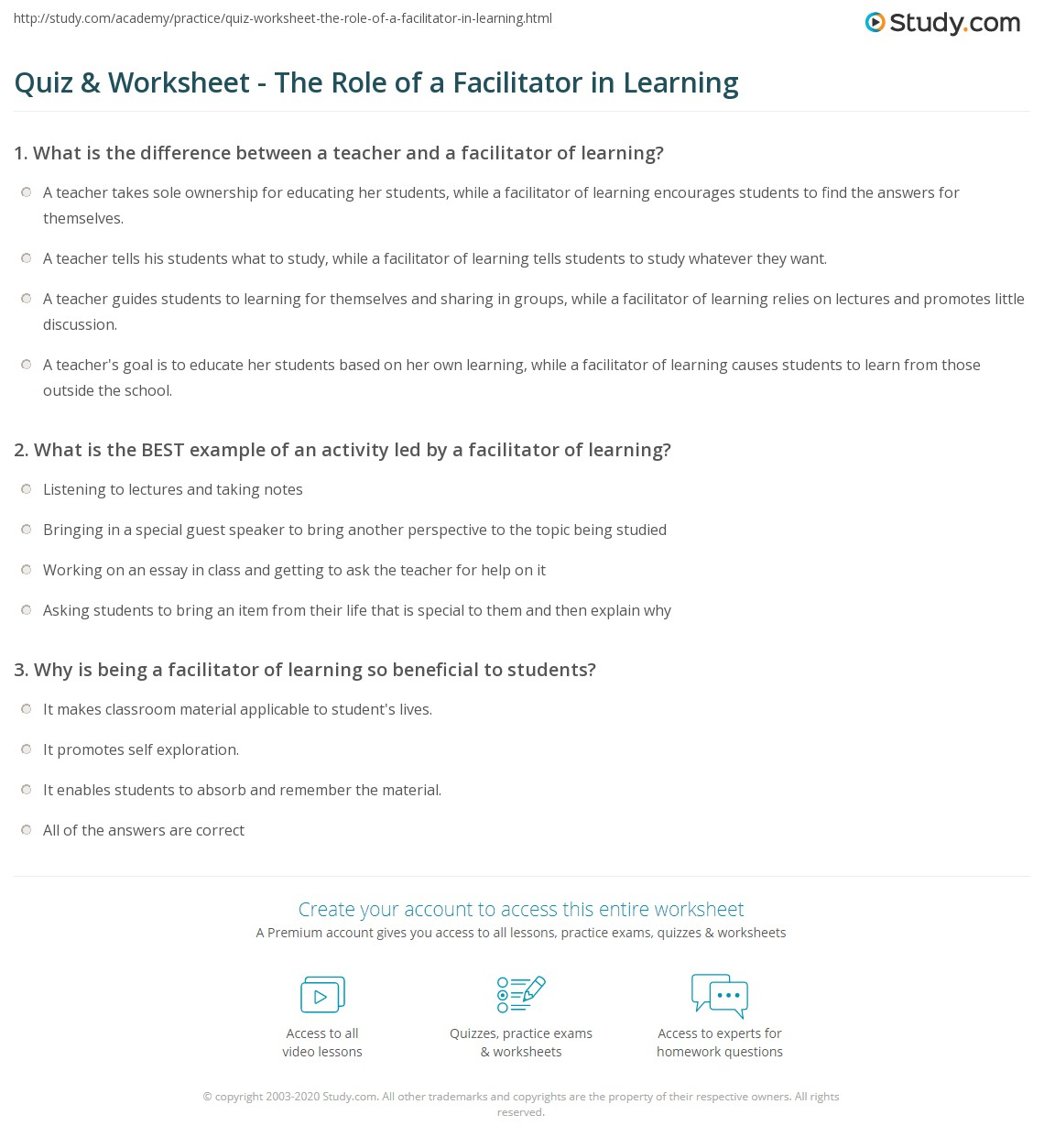 Quiz & Worksheet - The Role of a Facilitator in Learning   Study.com