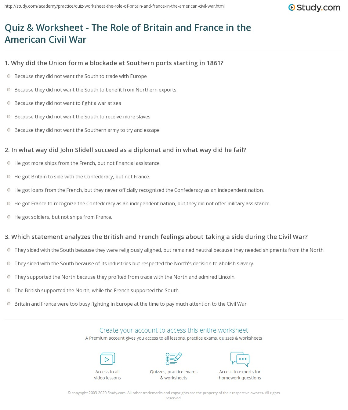 Causes Of The Civil War Essay Outline