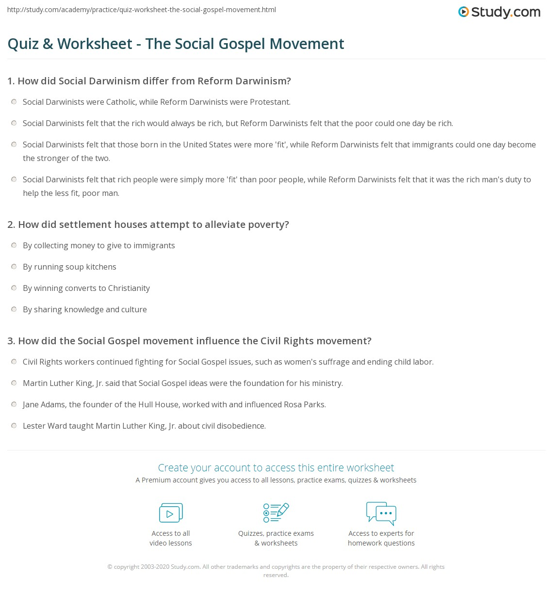 Reform Movements Worksheet