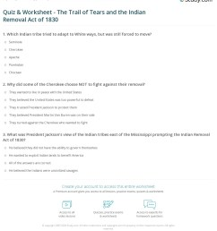 Quiz \u0026 Worksheet - The Trail of Tears and the Indian Removal Act of 1830    Study.com [ 1268 x 1140 Pixel ]