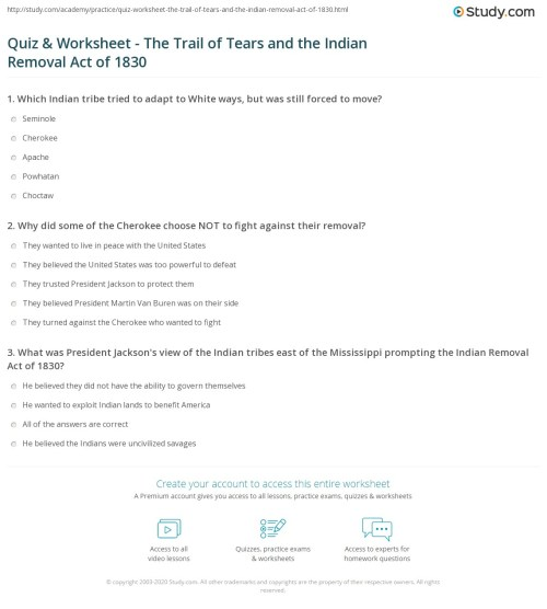 small resolution of Quiz \u0026 Worksheet - The Trail of Tears and the Indian Removal Act of 1830    Study.com
