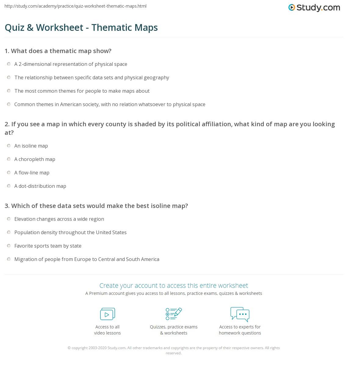 hight resolution of Quiz \u0026 Worksheet - Thematic Maps   Study.com