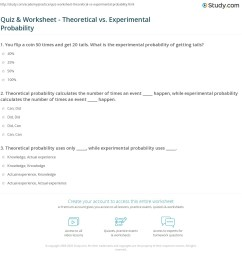 Quiz \u0026 Worksheet - Theoretical vs. Experimental Probability   Study.com [ 1188 x 1140 Pixel ]