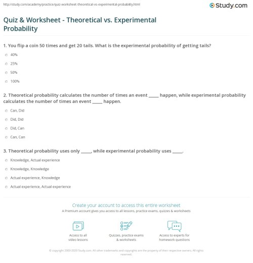 small resolution of Quiz \u0026 Worksheet - Theoretical vs. Experimental Probability   Study.com