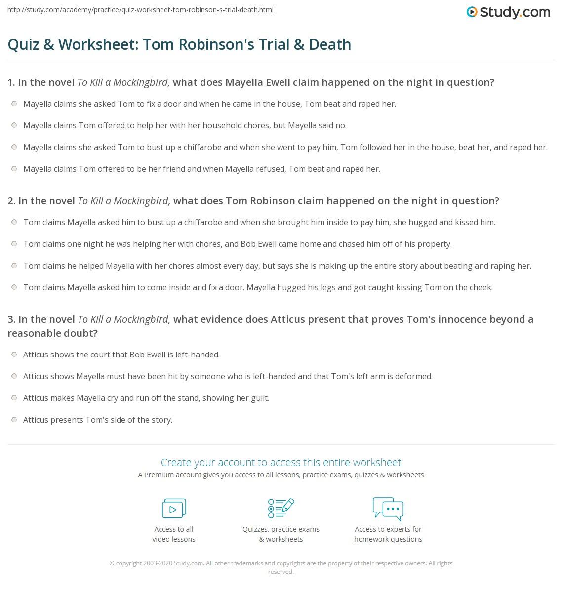 Quiz Amp Worksheet Tom Robinson S Trial Amp