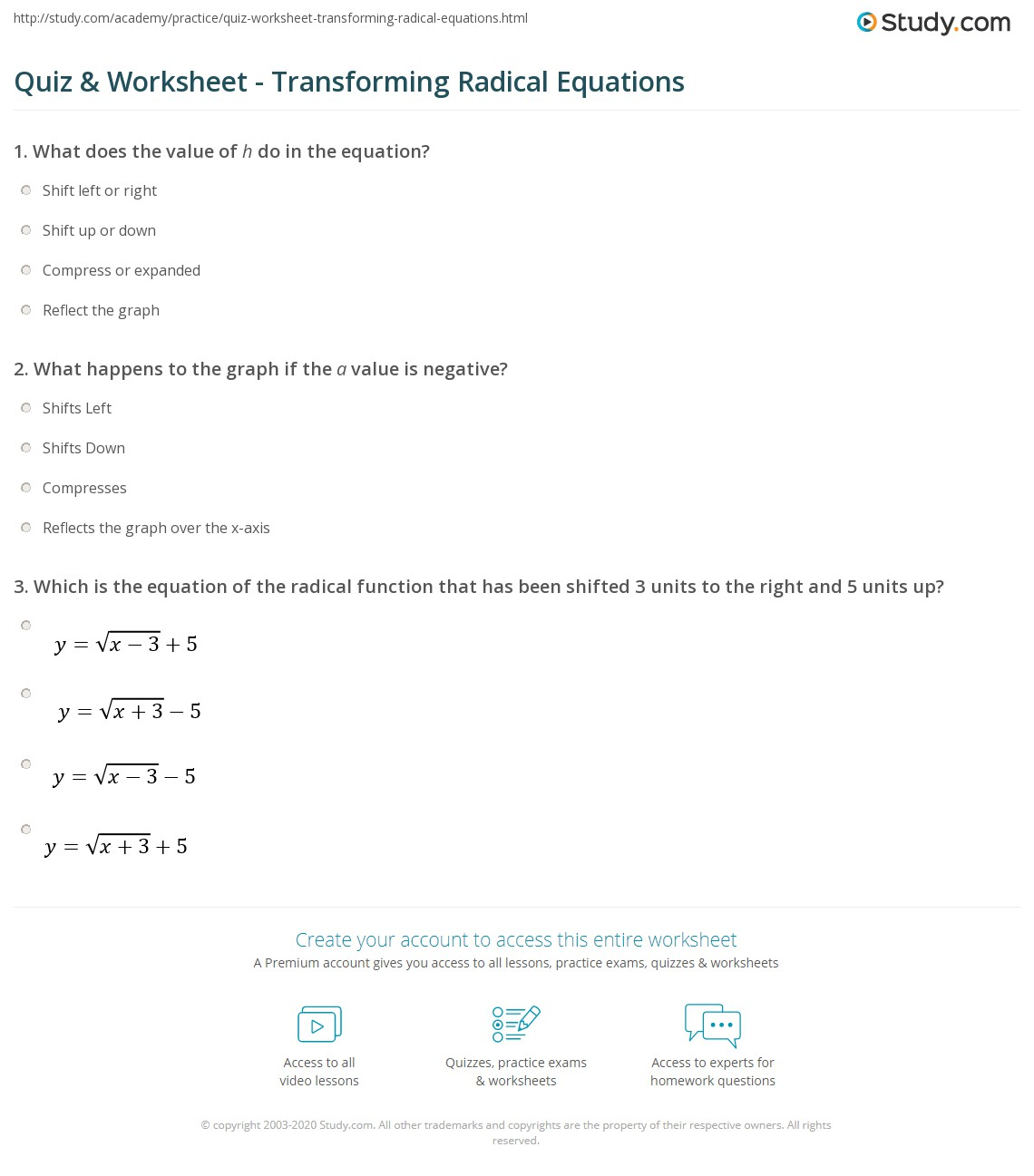 Solving Radical Equations Worksheet Algebra 1