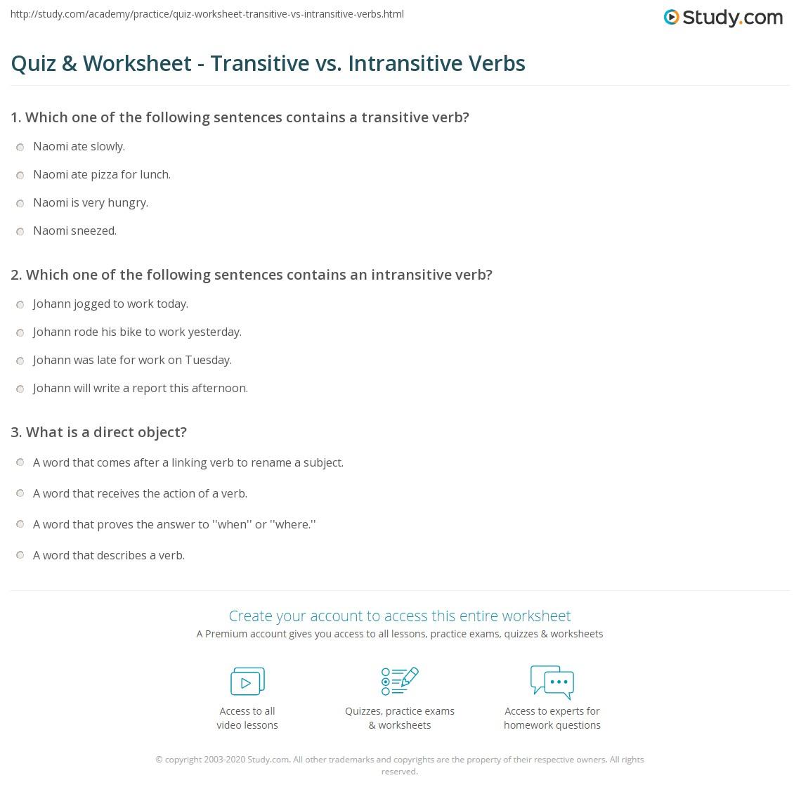 hight resolution of Quiz \u0026 Worksheet - Transitive vs. Intransitive Verbs   Study.com