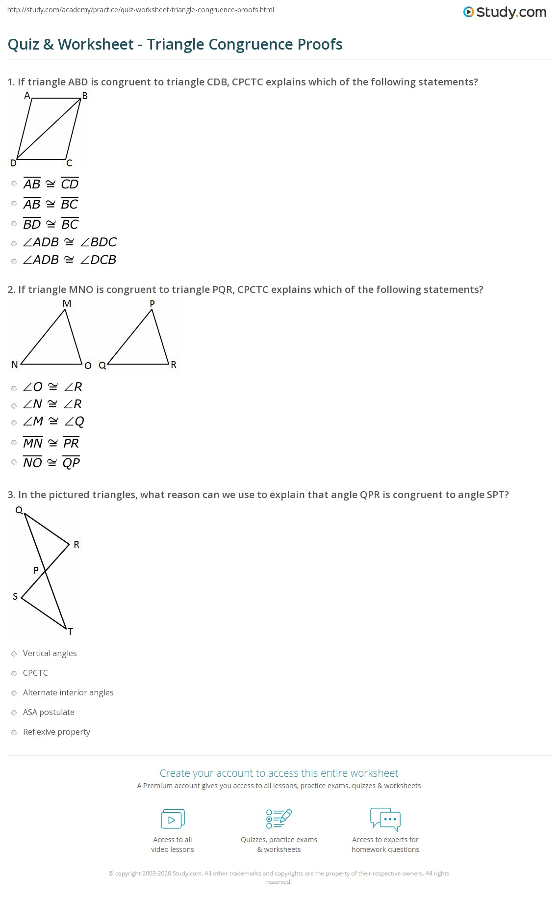 hight resolution of Quiz \u0026 Worksheet - Triangle Congruence Proofs   Study.com
