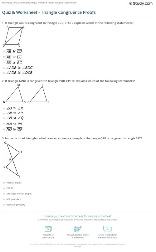 small resolution of Quiz \u0026 Worksheet - Triangle Congruence Proofs   Study.com