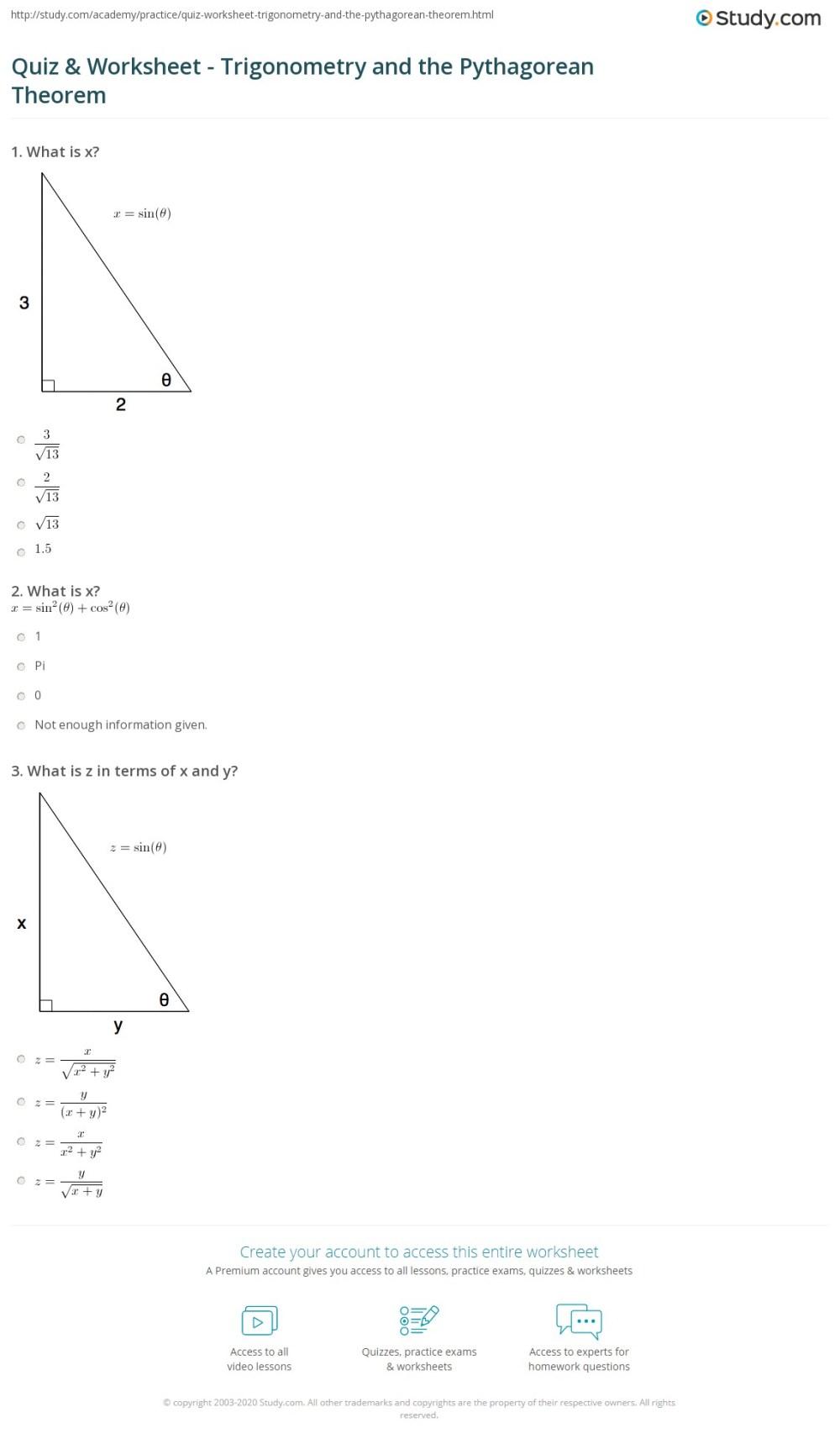 medium resolution of Quiz \u0026 Worksheet - Trigonometry and the Pythagorean Theorem   Study.com