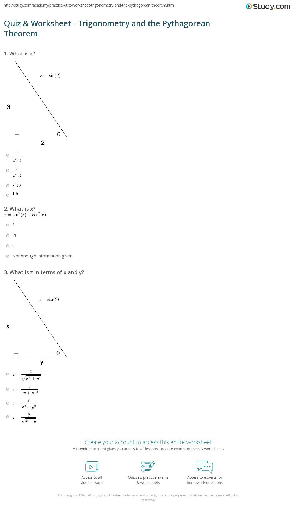 hight resolution of Quiz \u0026 Worksheet - Trigonometry and the Pythagorean Theorem   Study.com