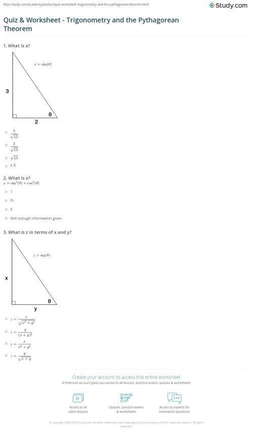 small resolution of Quiz \u0026 Worksheet - Trigonometry and the Pythagorean Theorem   Study.com