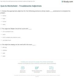 Quiz \u0026 Worksheet - Troublesome Adjectives   Study.com [ 1197 x 1140 Pixel ]