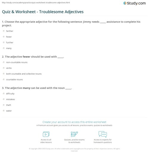 small resolution of Quiz \u0026 Worksheet - Troublesome Adjectives   Study.com