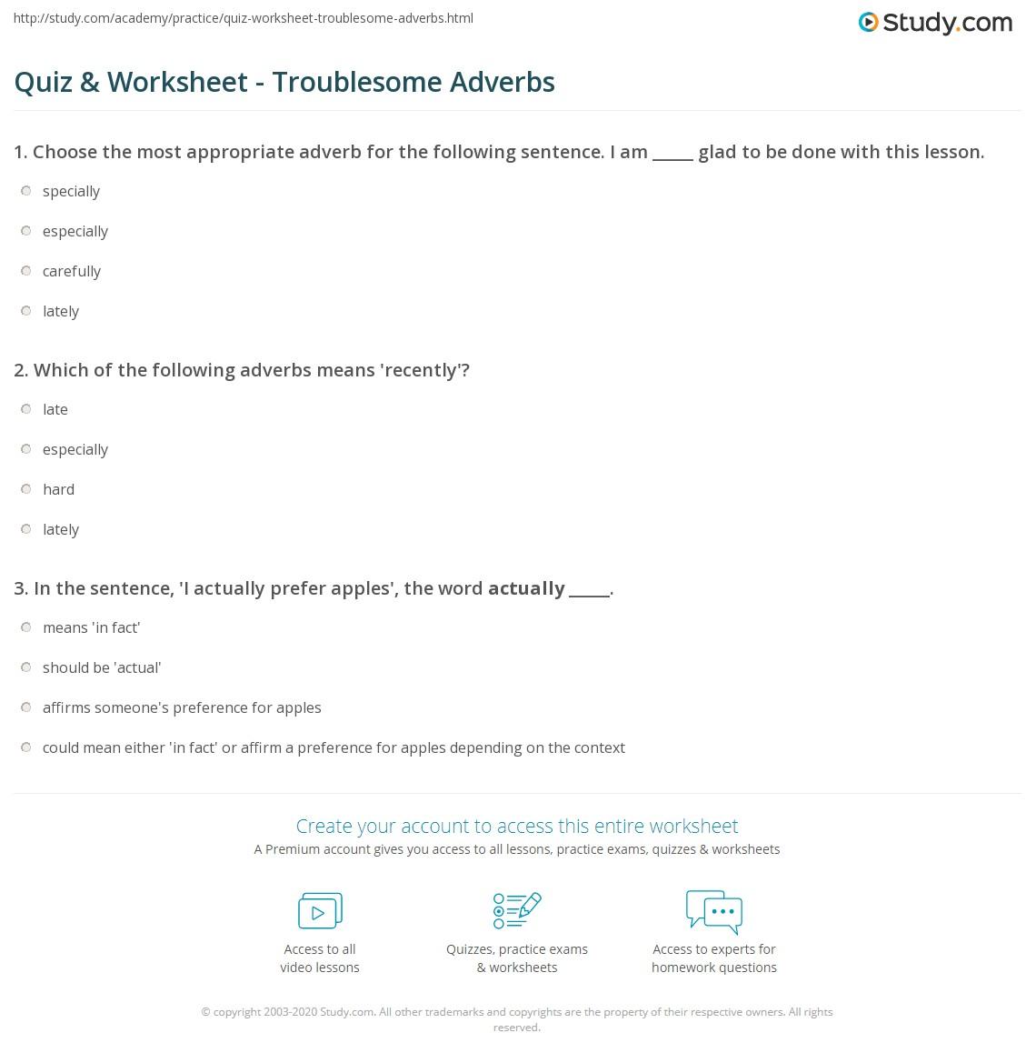 hight resolution of Quiz \u0026 Worksheet - Troublesome Adverbs   Study.com