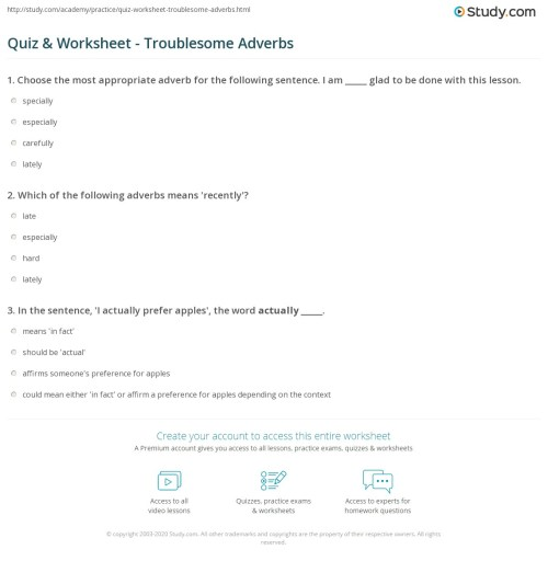 small resolution of Quiz \u0026 Worksheet - Troublesome Adverbs   Study.com