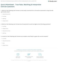 Quiz & Worksheet - True-False, Matching & Interpretive ...
