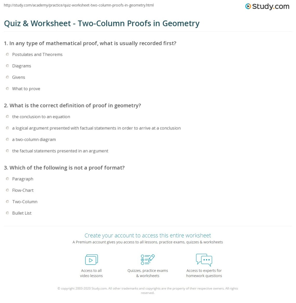medium resolution of Quiz \u0026 Worksheet - Two-Column Proofs in Geometry   Study.com