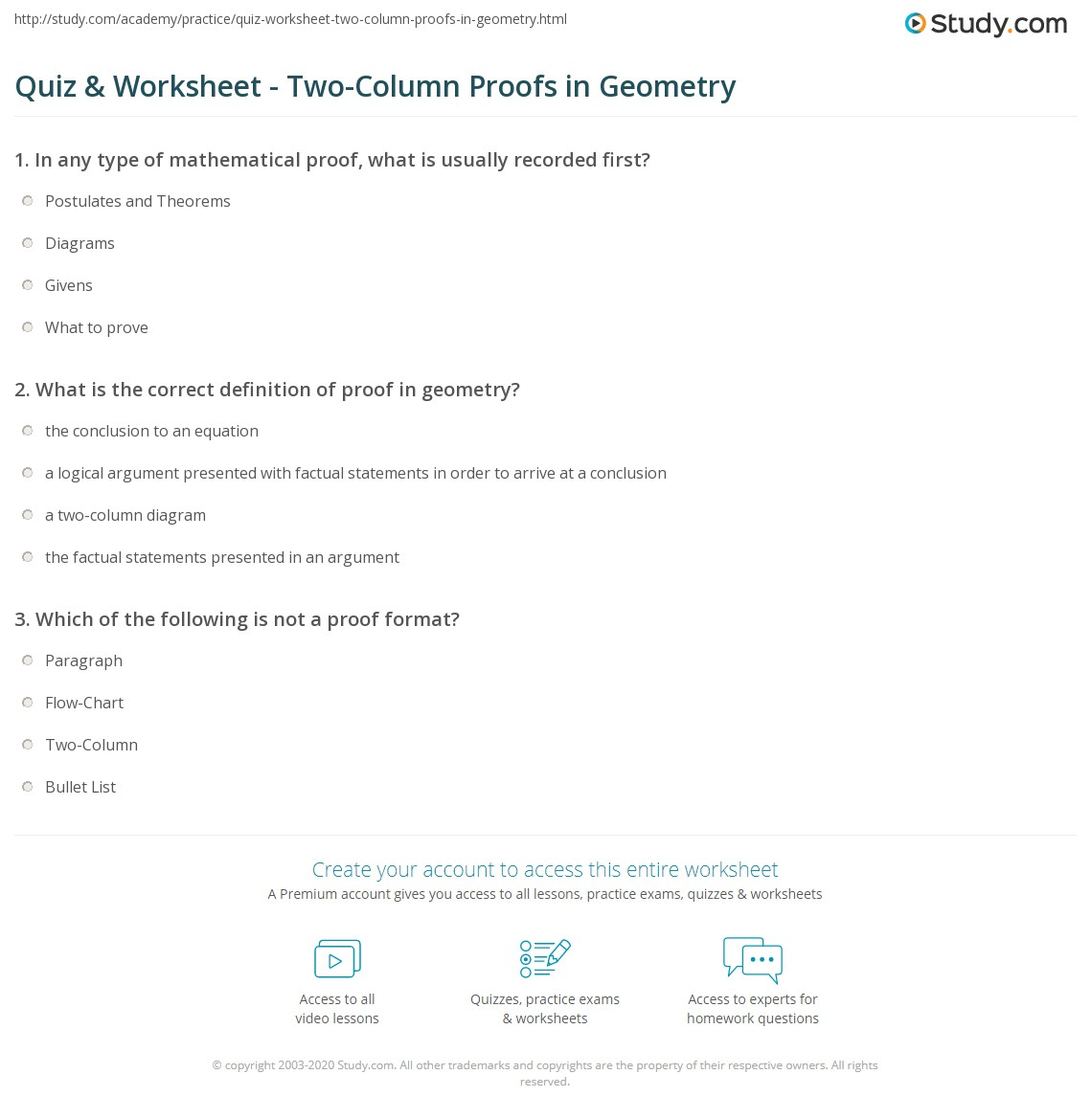 hight resolution of Quiz \u0026 Worksheet - Two-Column Proofs in Geometry   Study.com