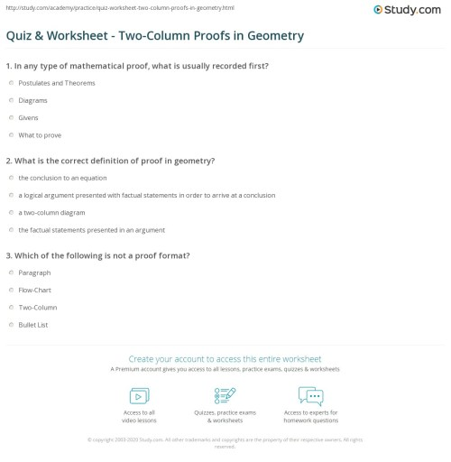 small resolution of Quiz \u0026 Worksheet - Two-Column Proofs in Geometry   Study.com