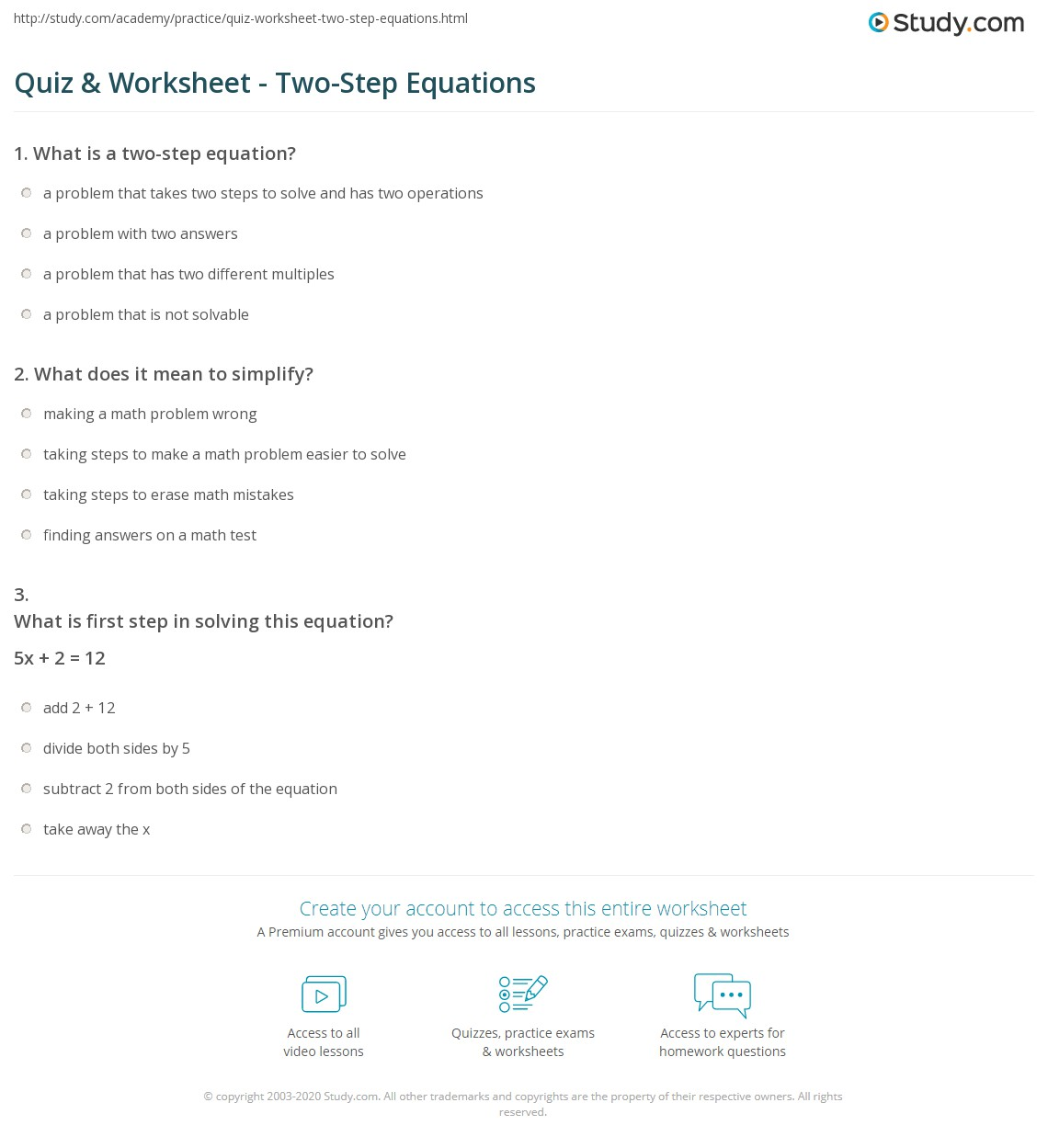 Two Step Equations Quiz Worksheet