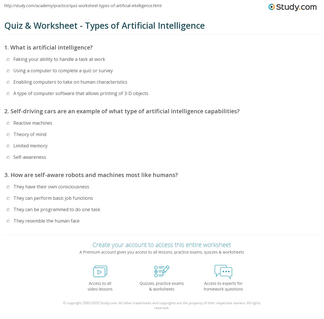 hight resolution of Quiz \u0026 Worksheet - Types of Artificial Intelligence   Study.com