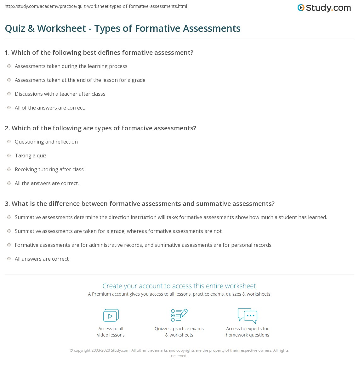 Formative Assessment Examples