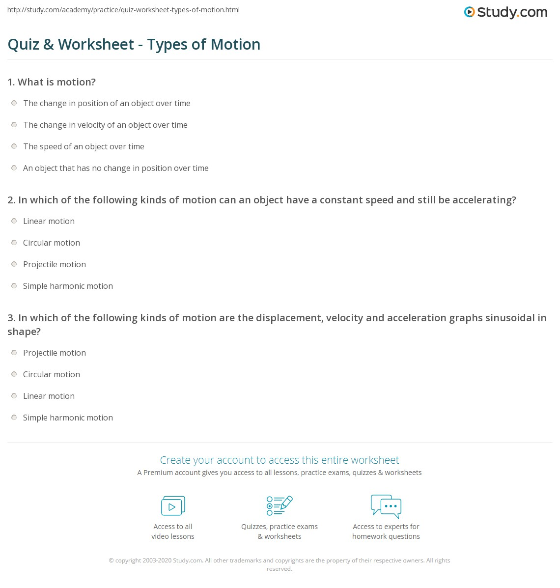 Motion Worksheet