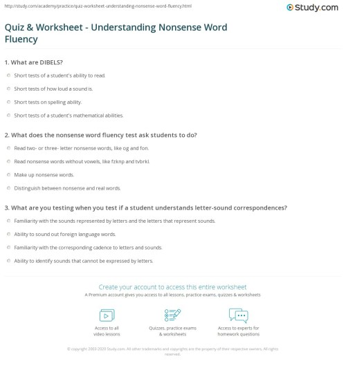 small resolution of Real And Nonsense Words Worksheets   Printable Worksheets and Activities  for Teachers
